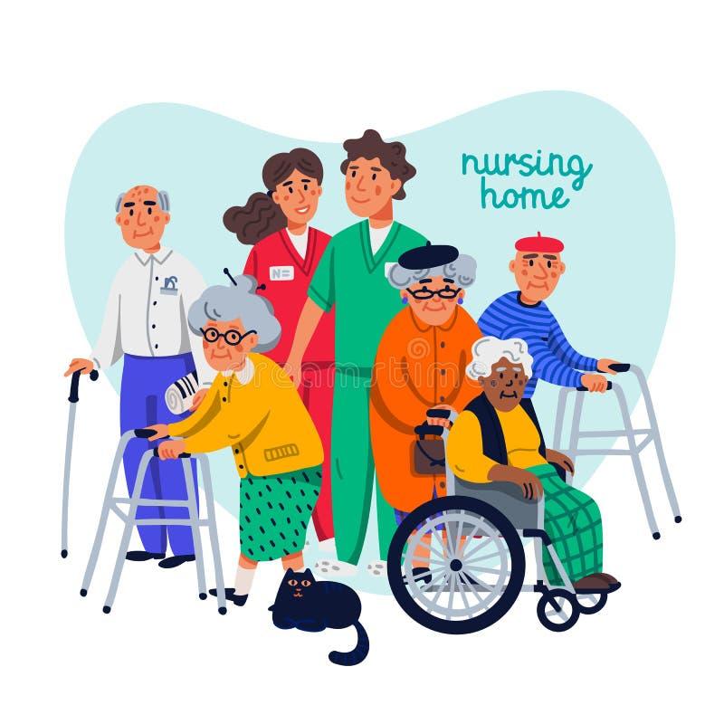 Conceito do lar de idosos Grupo de pessoas adultas e de assistentes sociais no fundo branco Cuidados m?dicos superiores dos povos ilustração do vetor