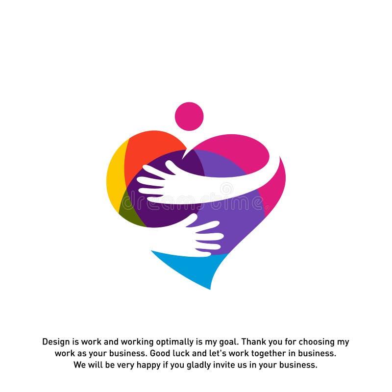 Conceito do logotipo do cuidado da lareira do amor, molde do logotipo dos povos do amor, vetor do molde do logotipo da caridade - ilustração stock