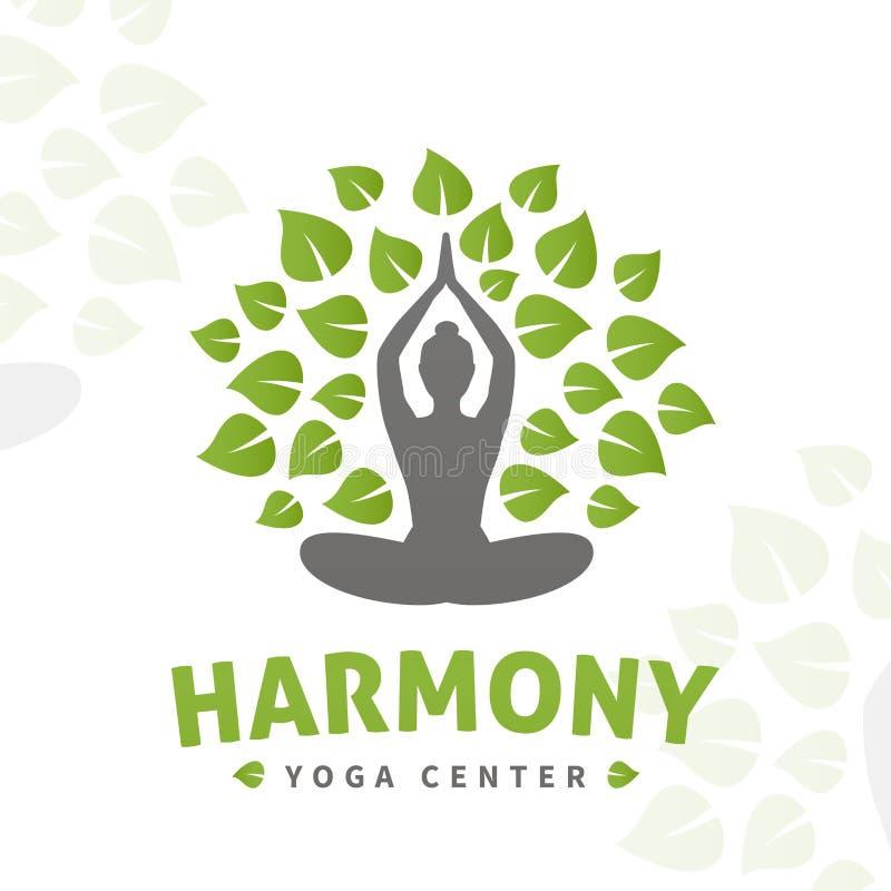 Conceito do logotipo da árvore da ioga do vetor Projeto das insígnias da harmonia Ilustração center do bem-estar ilustração royalty free