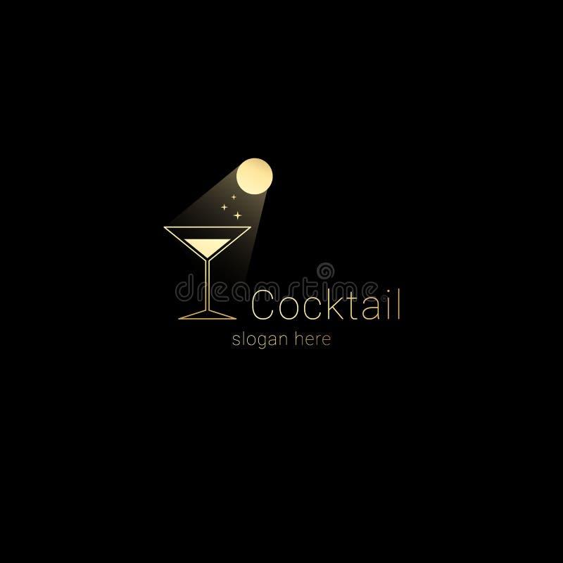 Conceito do logotipo da barra da noite do clube do cocktail Córregos da luz de lua no vidro de cocktail com sparkles de incandesc ilustração royalty free