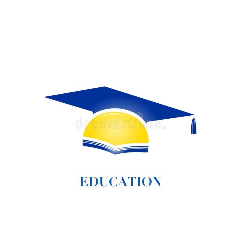 Conceito do logotipo da educação com tampão da graduação, ilustração do vetor ilustração royalty free