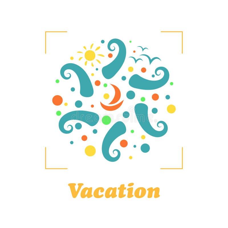 Conceito do logotipo das férias do curso do verão na forma de um círculo Estância balnear, ondas, navio, sol e pássaros Gráfico d foto de stock
