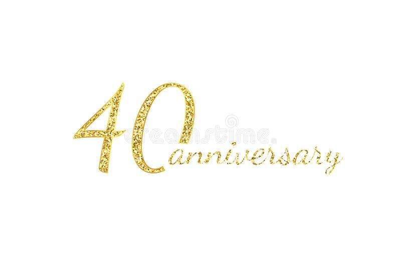 conceito do logotipo de 40 aniversários 40th ícone do aniversário dos anos Números dourados isolados no fundo preto Ilustra??o do ilustração stock