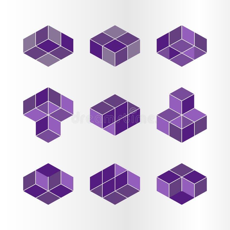 Conceito do logotipo do cubo, ilustração do vetor Estilo liso do projeto Construção do cubo Teste padrão do sinal Projeto gráfico ilustração stock