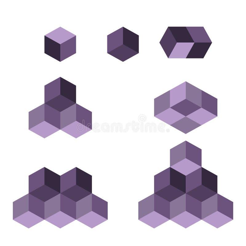 Conceito do logotipo do cubo, ilustração do vetor Estilo liso do projeto Construção do cubo Teste padrão do sinal Projeto gráfico ilustração do vetor