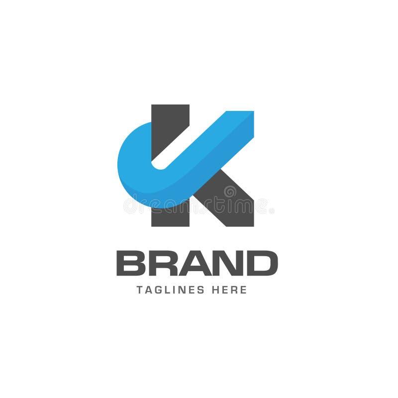 Conceito do logotipo do KJ da letra ilustração do vetor