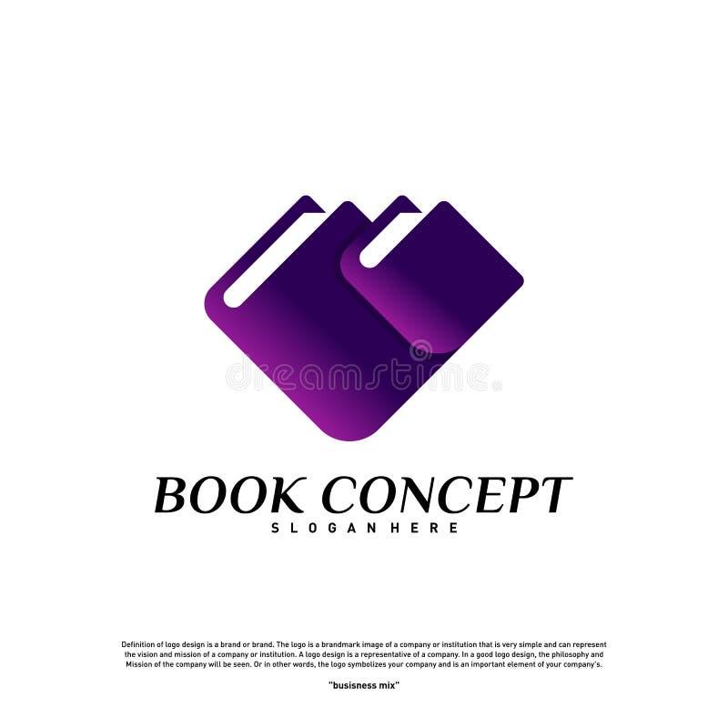 Conceito do logotipo do livro do amor Coração que aprende a educação Logo Design Template Vetora Símbolo do ícone ilustração royalty free