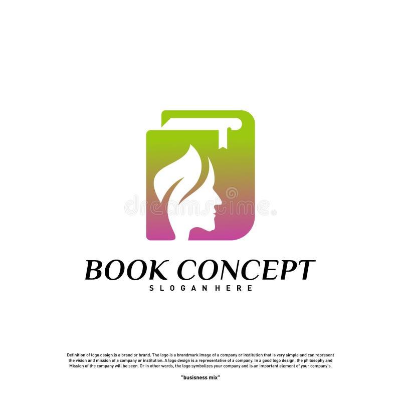 Conceito do logotipo do livro da ciência Povos da natureza que aprendem a educação Logo Design Template Vetora Símbolo do ícone ilustração stock