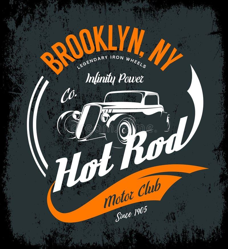 Conceito do logotipo do vetor do hot rod do vintage isolado no fundo escuro ilustração royalty free