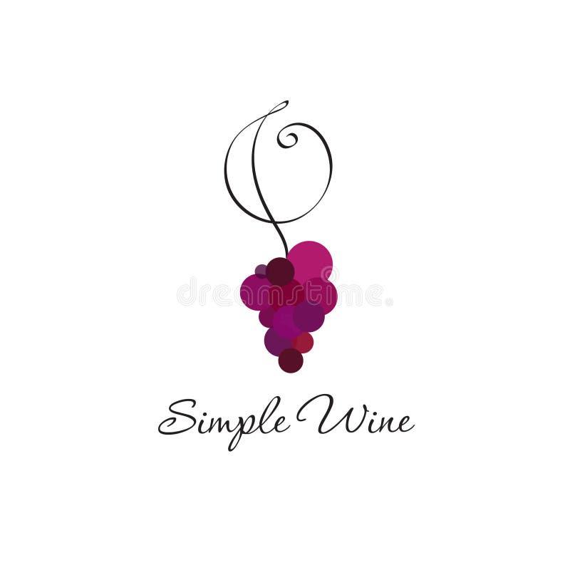 Conceito do logotipo do vinho Logotipo da loja de vinhos ou do restaurante, uvas e onda no fundo claro ilustração royalty free