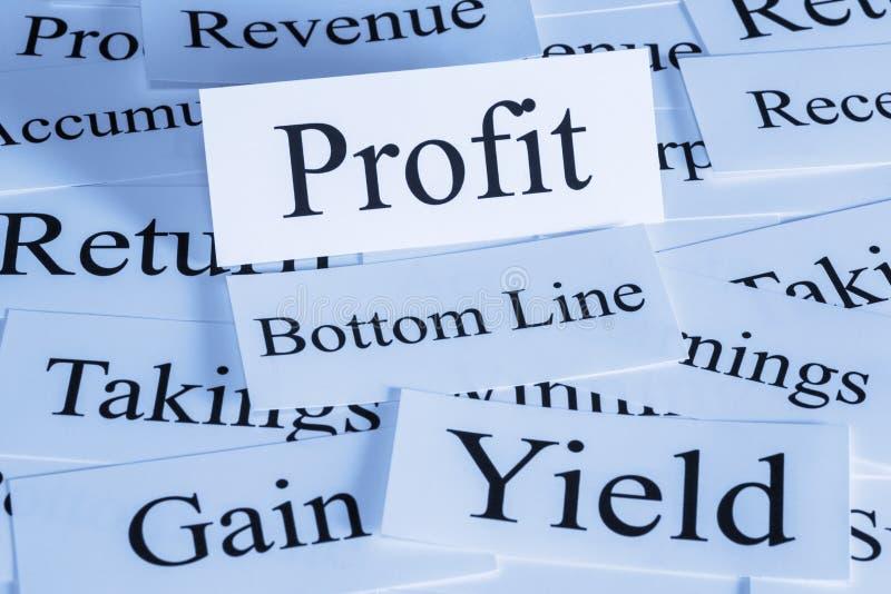 Conceito do lucro nas palavras imagens de stock royalty free