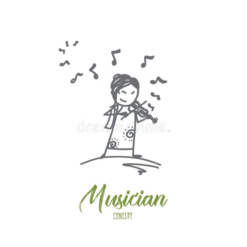 Conceito do músico Vetor isolado tirado mão ilustração stock
