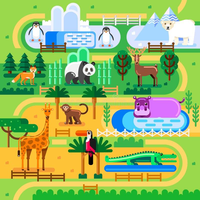 Conceito do mapa do jardim zoológico Os animais selvagens na família da selva estacionam, vector a ilustração lisa Fundo do diver ilustração do vetor