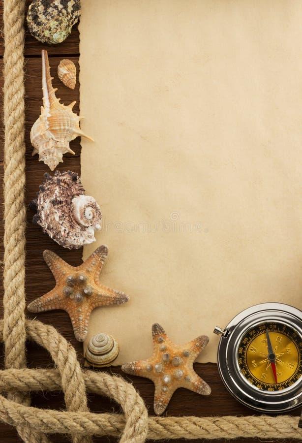 Conceito do mar e papel envelhecido foto de stock royalty free