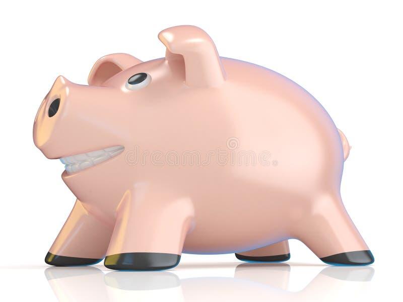 Conceito do mealheiro, porco cerâmico 3d ilustração stock