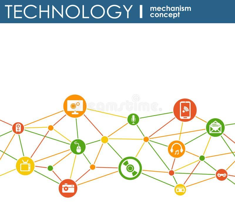 Conceito do mecanismo da tecnologia Fundo abstrato com engrenagens e ícones integrados para digital, estratégia, Internet, rede,  ilustração do vetor