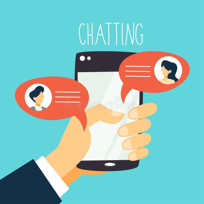 Conceito do mensageiro do telefone celular Conversação do texto em linha ilustração do vetor