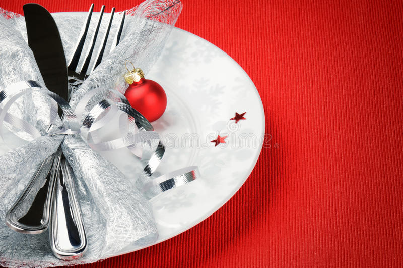 Conceito do menu do Natal no fundo vermelho imagens de stock