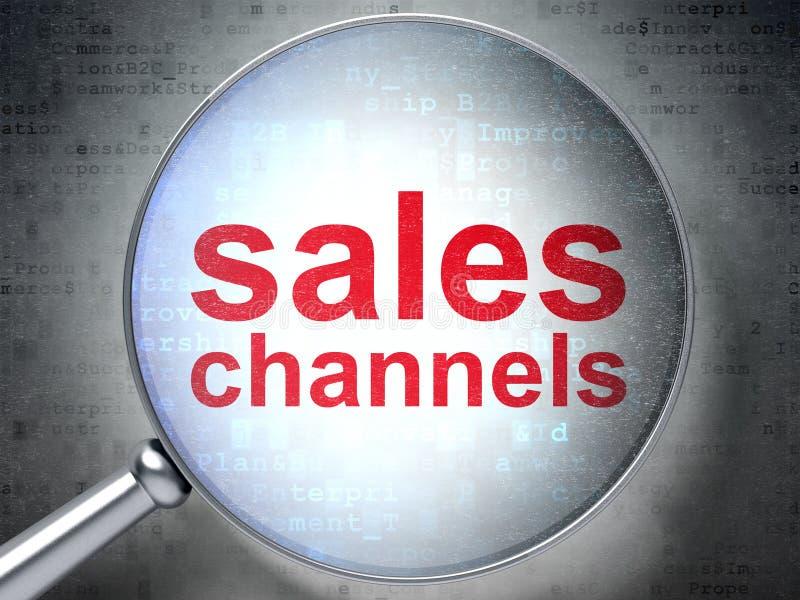 Conceito do mercado: Canais de vendas com vidro ótico ilustração royalty free