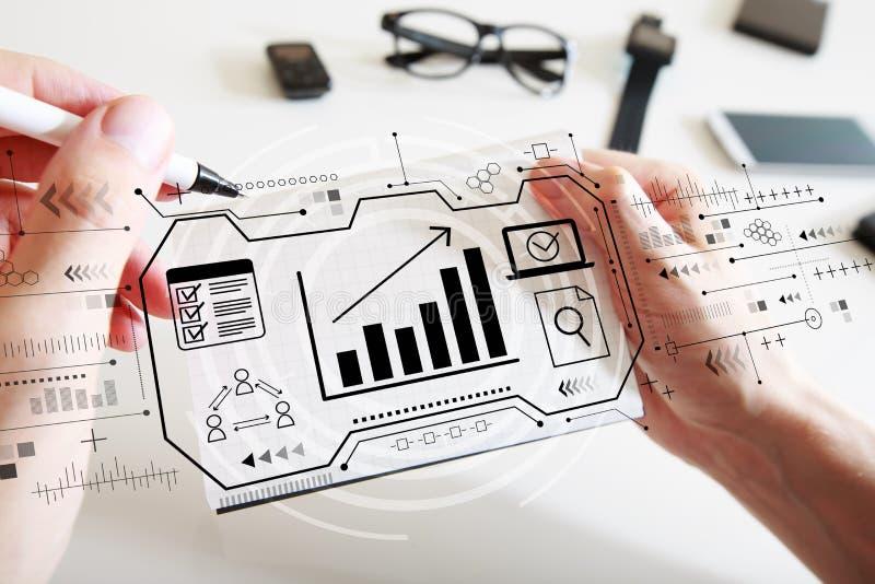 Conceito do mercado com um caderno ilustração do vetor