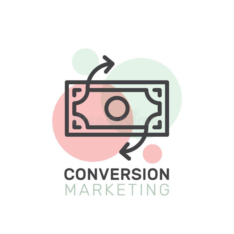 Conceito do mercado da conversão, logotipo isolado ilustração do vetor