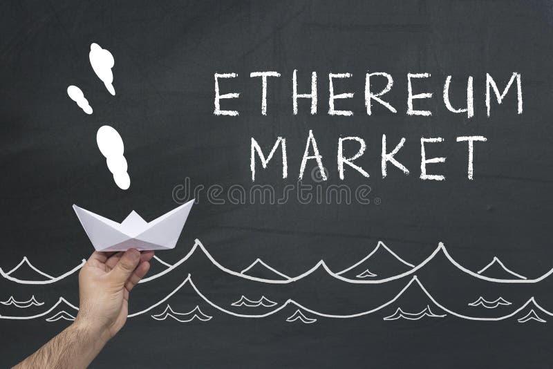 Conceito do mercado de Ethereum foto de stock