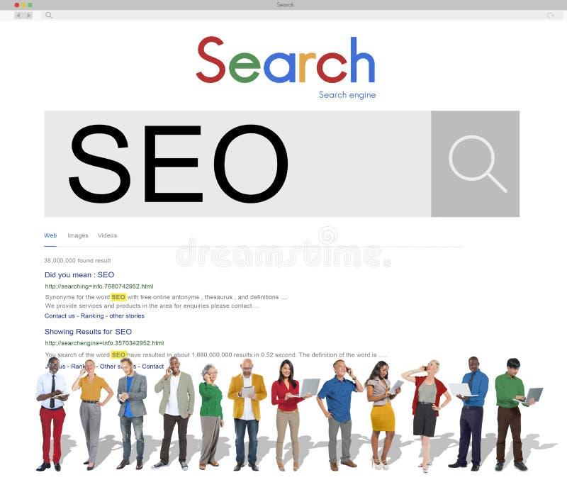 Conceito do mercado de SEO Search Engine Optimization Business imagem de stock