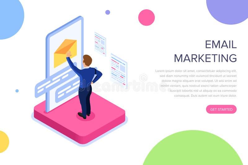 Conceito do mercado do e-mail com caráteres Pode usar-se para a bandeira da Web, infographics, imagens do herói Vetor isométrico  ilustração do vetor