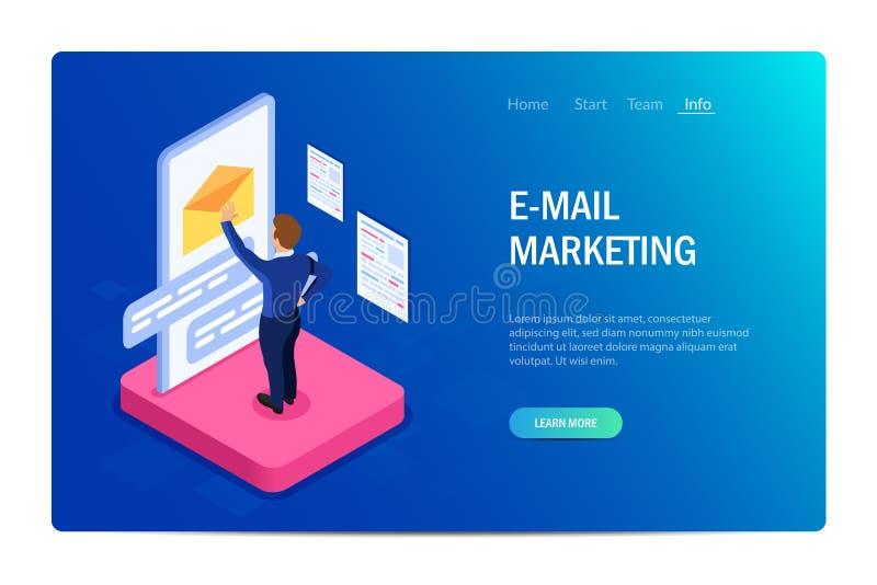 Conceito do mercado do e-mail com car?teres Web site do projeto Pode usar-se para a bandeira da Web, infographics, imagens do her ilustração stock