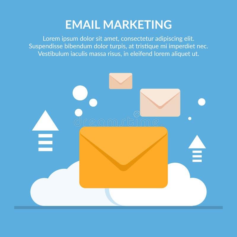 Conceito do MERCADO do EMAIL Envelopes do correio na perspectiva de uma nuvem Enviando a informação Vetor liso ilustração royalty free