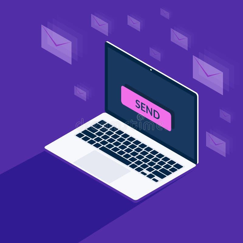 Conceito do mercado do email Envie o bot?o na tela do port?til Holograma de envelopes postais Ilustra??o do vetor em 3d ilustração royalty free