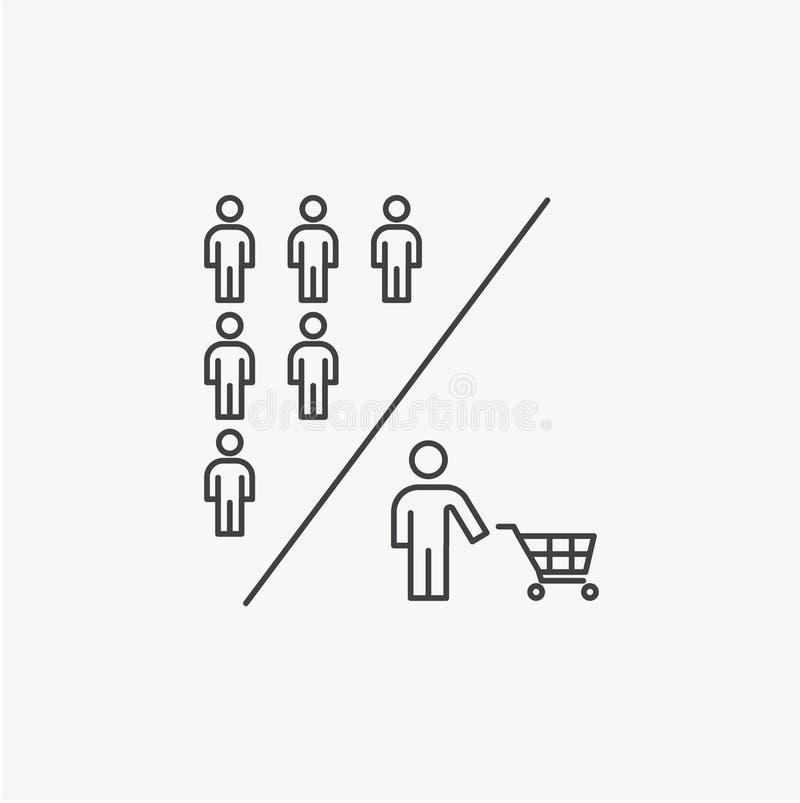 Conceito do mercado do Internet Propaganda do PPC e linha ícone da conversão ilustração stock