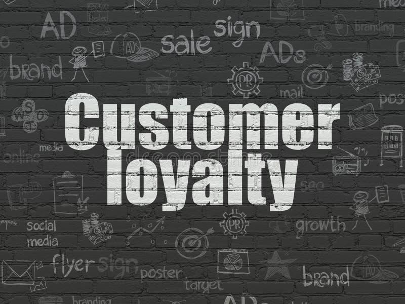 Conceito do mercado: Lealdade do cliente no fundo da parede ilustração stock