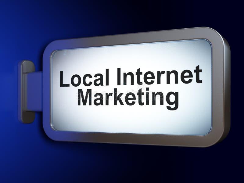 Conceito do mercado: Mercado local do Internet no fundo do quadro de avisos ilustração do vetor