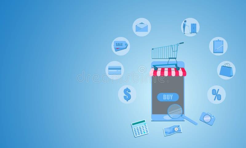 Conceito do mercado do negócio móvel ilustração em linha de compra eps10 do vetor da venda ilustração stock