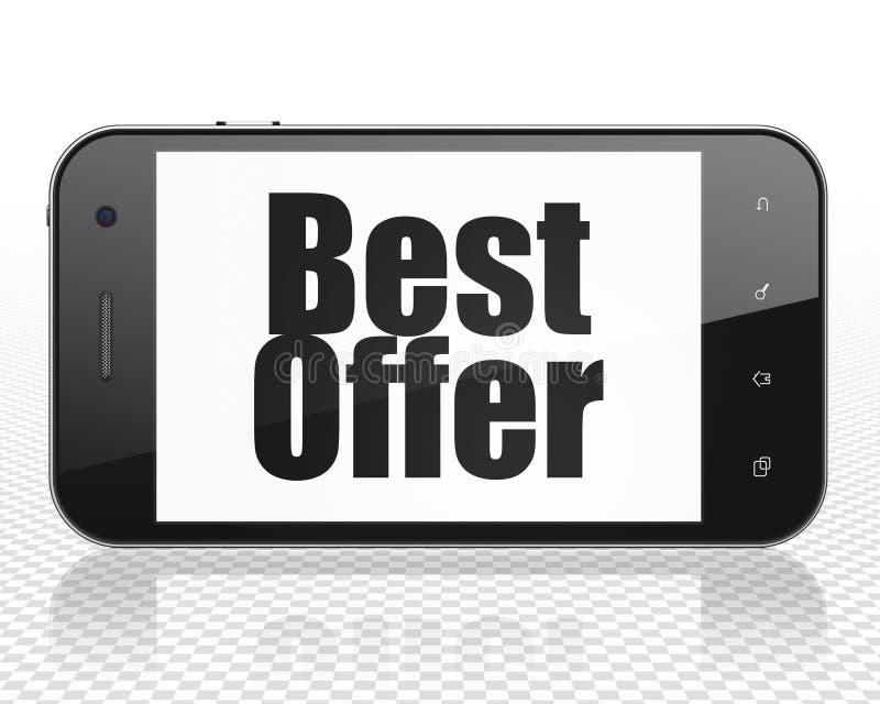 Conceito do mercado: Smartphone com melhor oferta na exposição ilustração stock