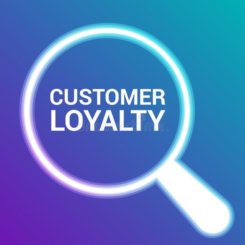 Conceito do mercado: Vidro ótico de ampliação com lealdade do cliente das palavras ilustração stock