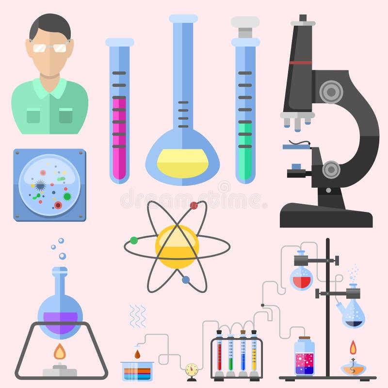 Conceito do microscópio da molécula do projeto da biologia do laboratório médico do teste dos símbolos do laboratório e ciência c ilustração stock