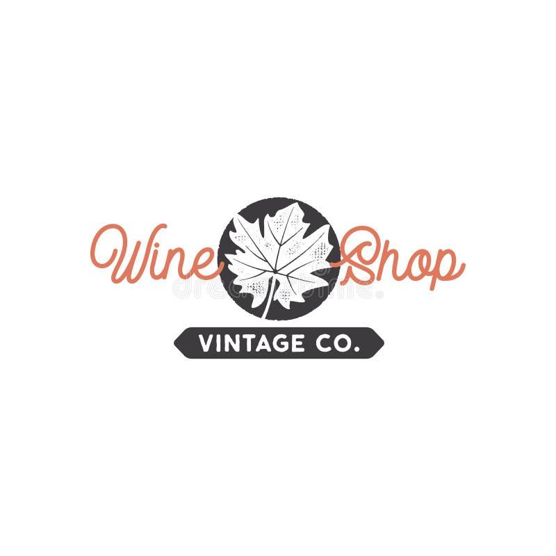 Conceito do molde do logotipo da loja de vinho A folha da uva no círculo preto e a tipografia assinam - a loja de vinho Emblema c ilustração stock