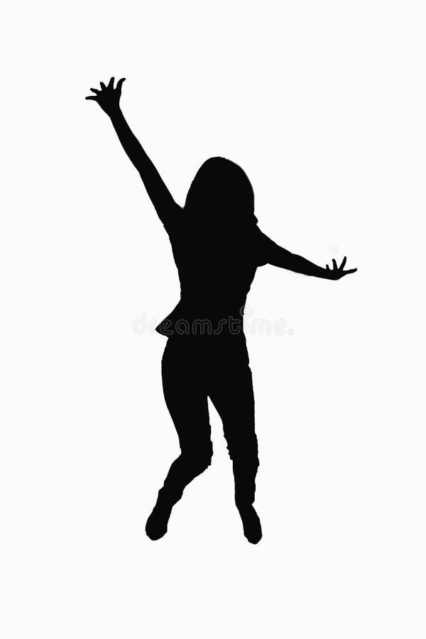 Conceito do movimento - jovem mulher que salta no ar sobre o fundo branco imagens de stock royalty free