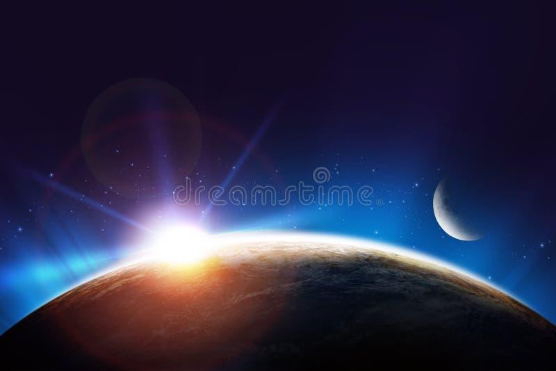 Conceito do nascer do sol da terra ilustração royalty free