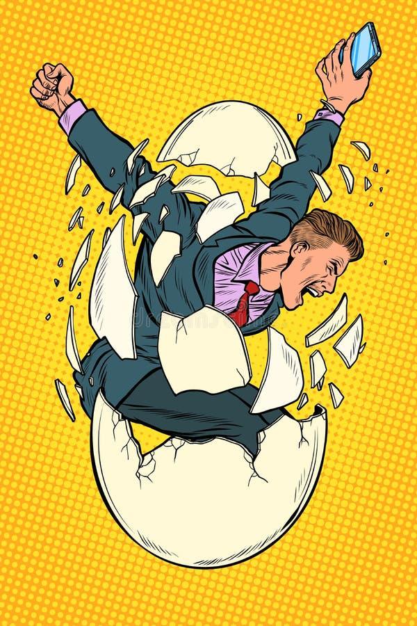 Conceito do nascimento do negócio da partida o homem de negócios aparece do escudo de um ovo ilustração do vetor