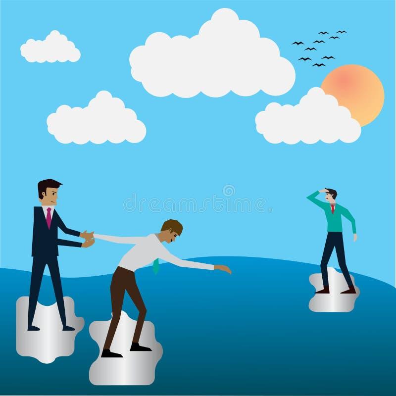 Conceito do negócio, ajuda dos trabalhos de equipa para o sucesso ilustração do vetor