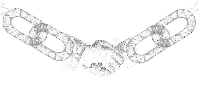 Conceito do negócio do aperto de mão do acordo da tecnologia de Blockchain baixo poli Linha poligonal projeto geométrico do ponto ilustração royalty free