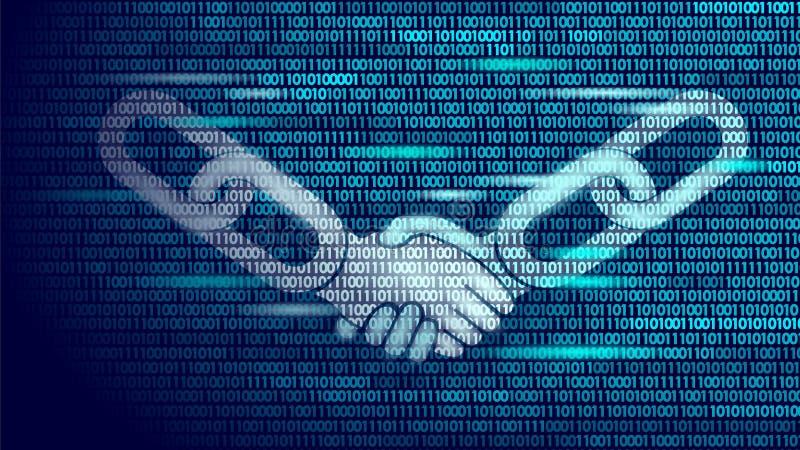 Conceito do negócio do aperto de mão do acordo da tecnologia de Blockchain baixo poli Projeto dos números de código binário do sí