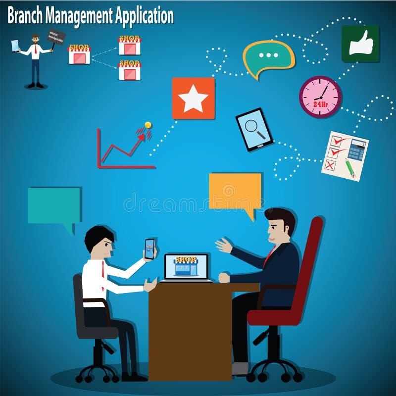 Conceito do negócio, aplicação móvel atual do homem de negócios ilustração stock