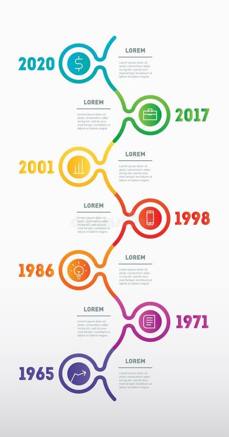 Conceito do negócio com 7 opções, porções, etapas ou processos da tecnologia O espaço temporal vertical de Infographic Molde da W ilustração do vetor