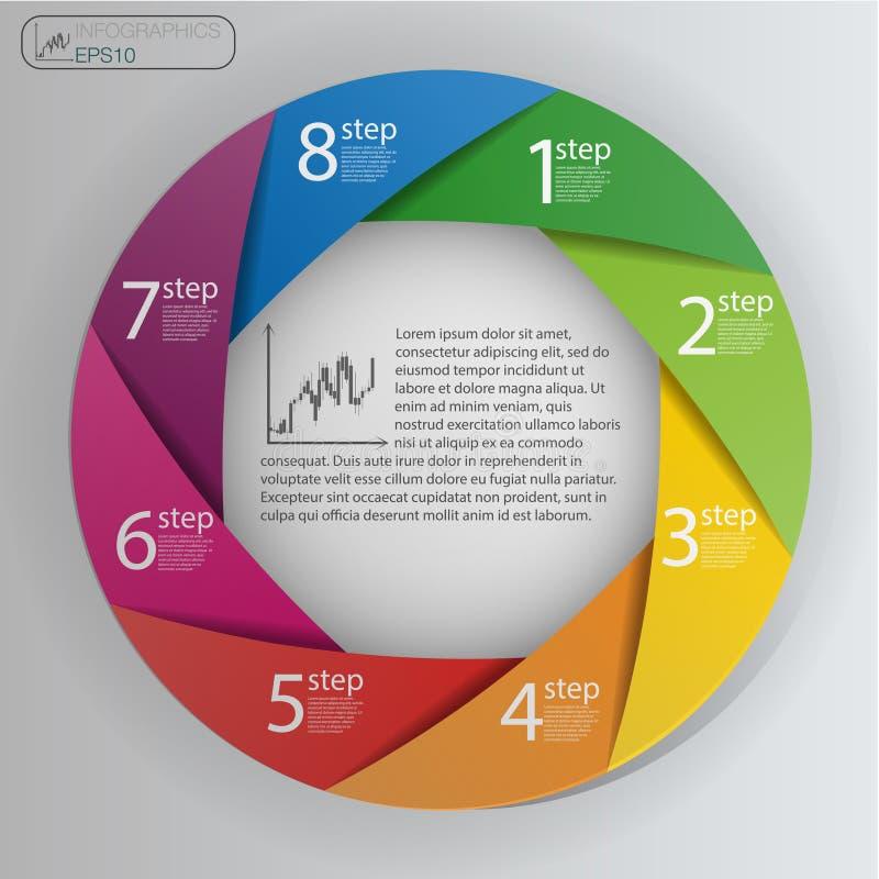 Conceito do negócio com 8 opções, porções, etapas ou processos Molde do projeto gráfico da informação ilustração royalty free