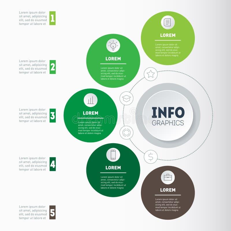 Conceito do negócio com 5 opções, porções, etapas ou processos Tempo ilustração do vetor