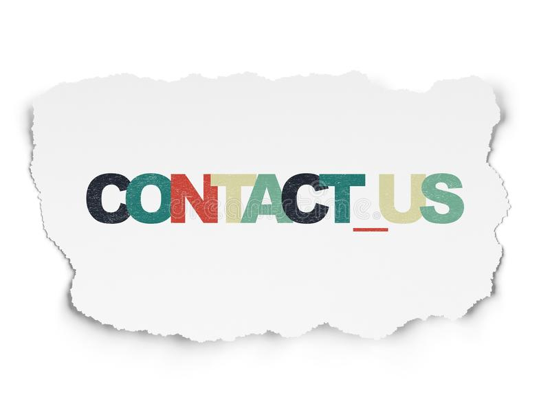 Conceito do negócio: Contacte-nos no fundo de papel rasgado fotografia de stock royalty free